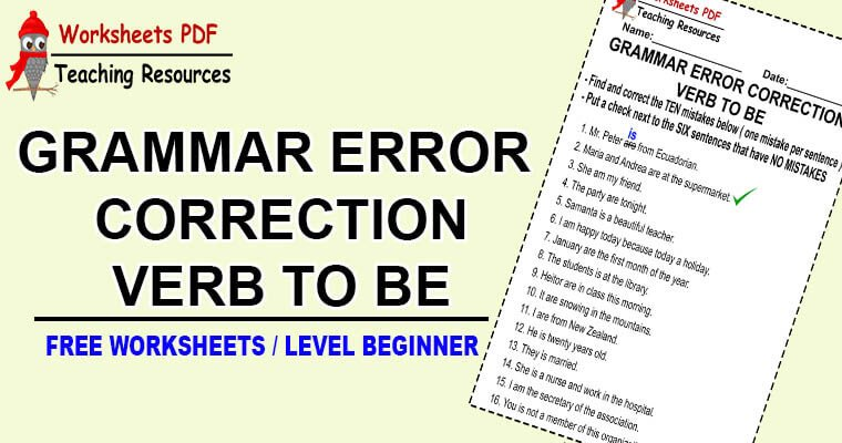 Grammar Error Correction Verb To Be 1