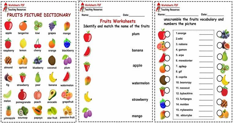 fruits worksheets