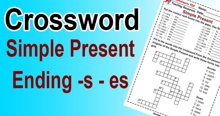 Ending s in the Simple Present – Crossword