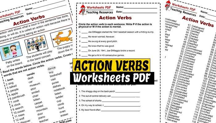 Action Verbs - FREE Printables - Worksheets PDF