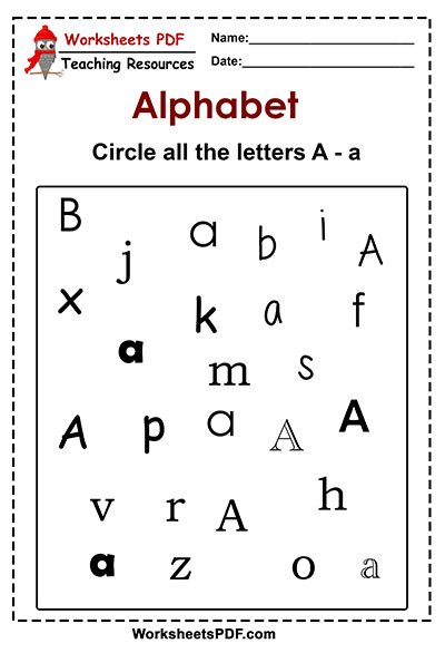 Circle all the letters A a