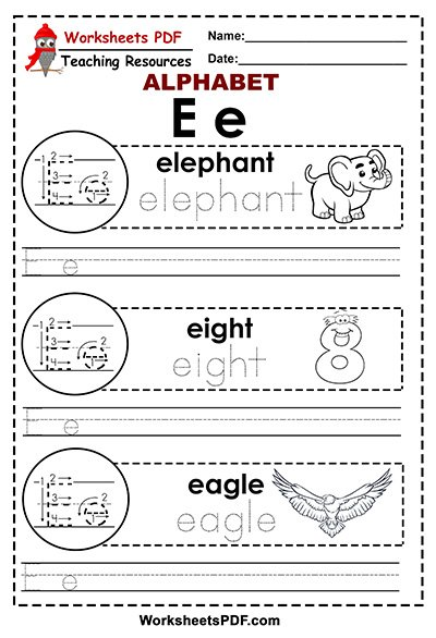 Letter E A To Z Alphabet Worksheets Pdf