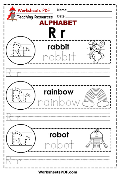 Letter R ( A to Z alphabet) - Worksheets PDF