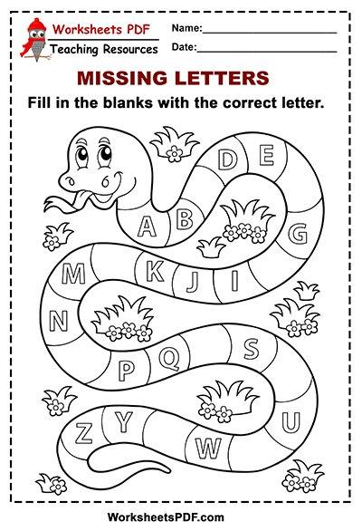 Free Printable Snake Alphabet - Missing Letters - Worksheets PDF
