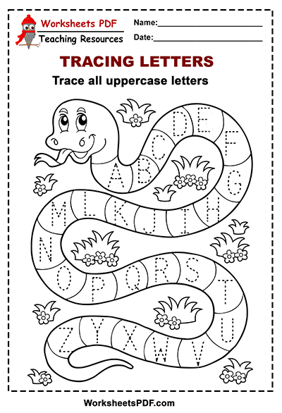 Snake Tracing Alphabet UpperCase Letters