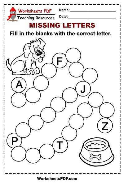 Free Printable Dog Alphabet – Missing Letters - Worksheets PDF