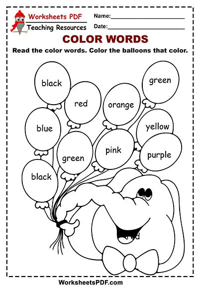 Balloons Color Words Activity