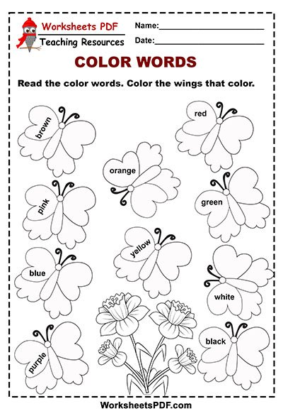 Butterfly Color Words Activity