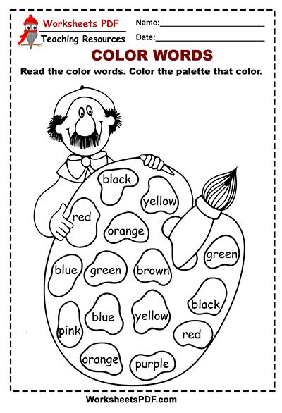 Palette Color Words Activity