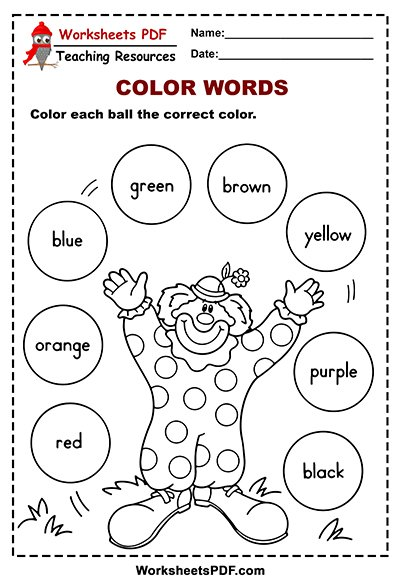 Balls Color Words Activity