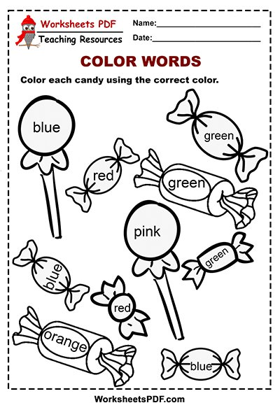 Candy Color Words Activity