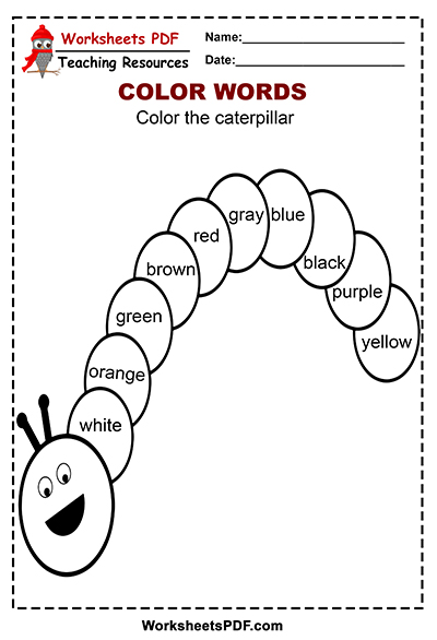 Caterpillar Color Words Activity