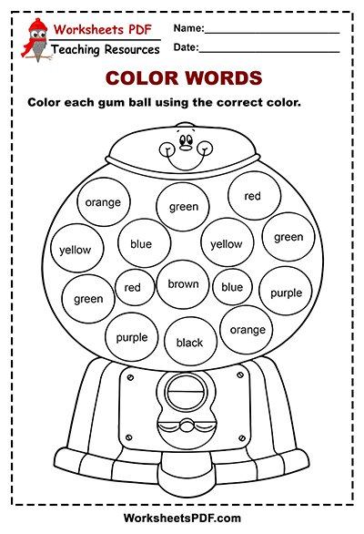 Gum Ball Words Activity