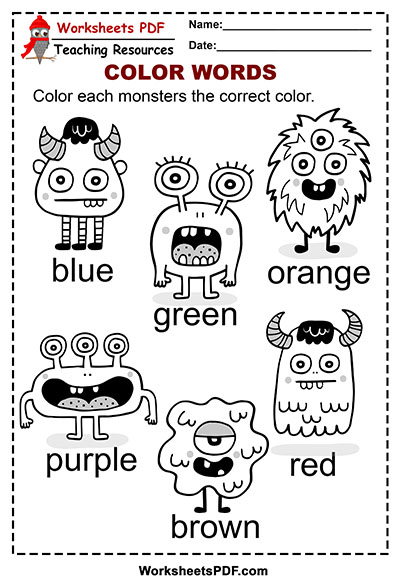 Monsters Color Words Activity