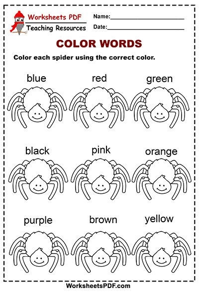 Spiders Color Words Activity 1