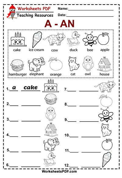 a and an free printable worksheets pdf