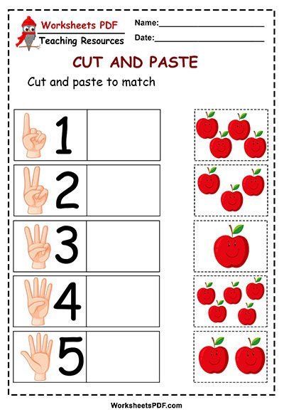 apple worksheets cut and paste