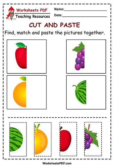 fruit cut and paste worksheets pdf