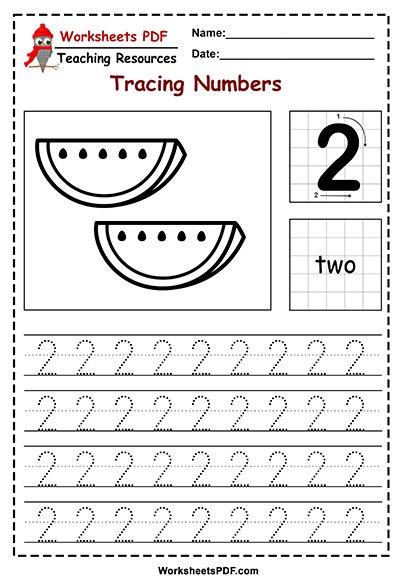 Preschool Number Tracing Worksheets (1 - 10) - Worksheets PDF