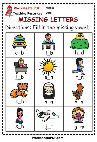 Fill in the blank using Short Vowels