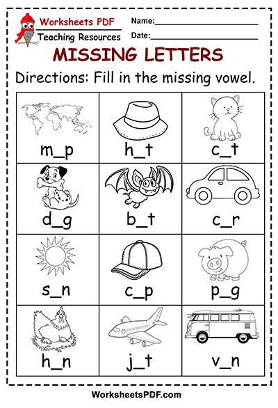 free Fill in the missing vowel