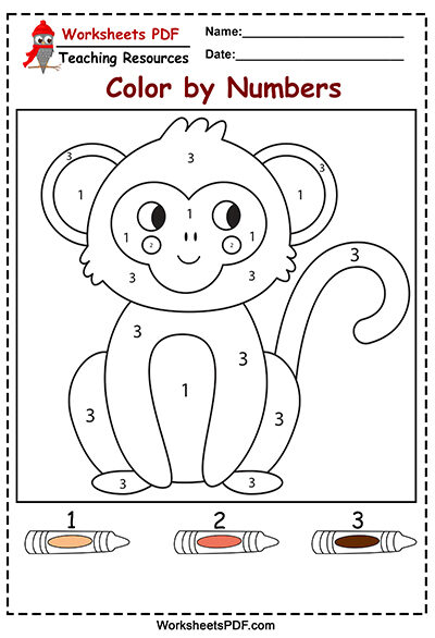 monkey color by numbers