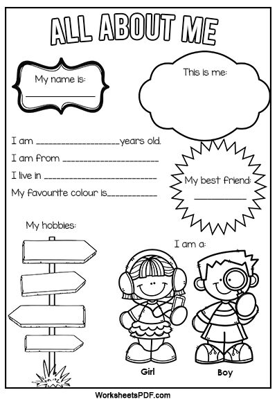 All About Me Worksheets For Kindergarten Pdf