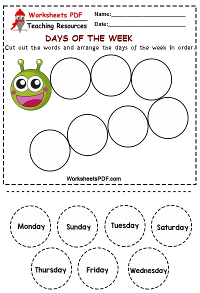 Arrange the days of the week in order free