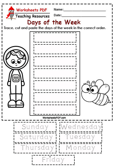 Days Of The Week Worksheets PDF