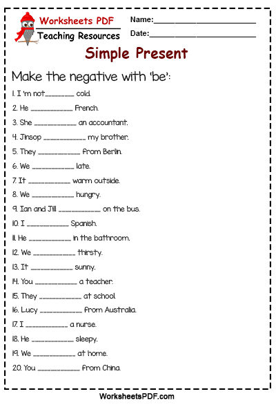 Make the negative with 'be